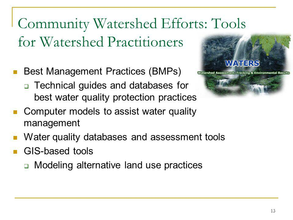 13 Community Watershed Efforts: Tools for Watershed Practitioners Best Management Practices (BMPs) Technical guides and databases for best water quality protection practices Computer models to assist water quality management Water quality databases and assessment tools GIS-based tools Modeling alternative land use practices
