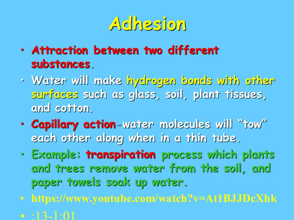 Adhesion Attraction between two different substances.Attraction between two different substances. Water will make hydrogen bonds with other surfaces s