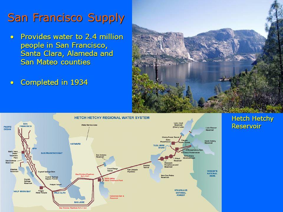 San Francisco Supply Provides water to 2.4 million people in San Francisco, Santa Clara, Alameda and San Mateo countiesProvides water to 2.4 million p
