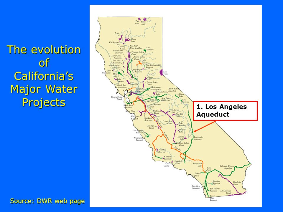 The evolution of Californias Major Water Projects Source: DWR web page 1. Los Angeles Aqueduct