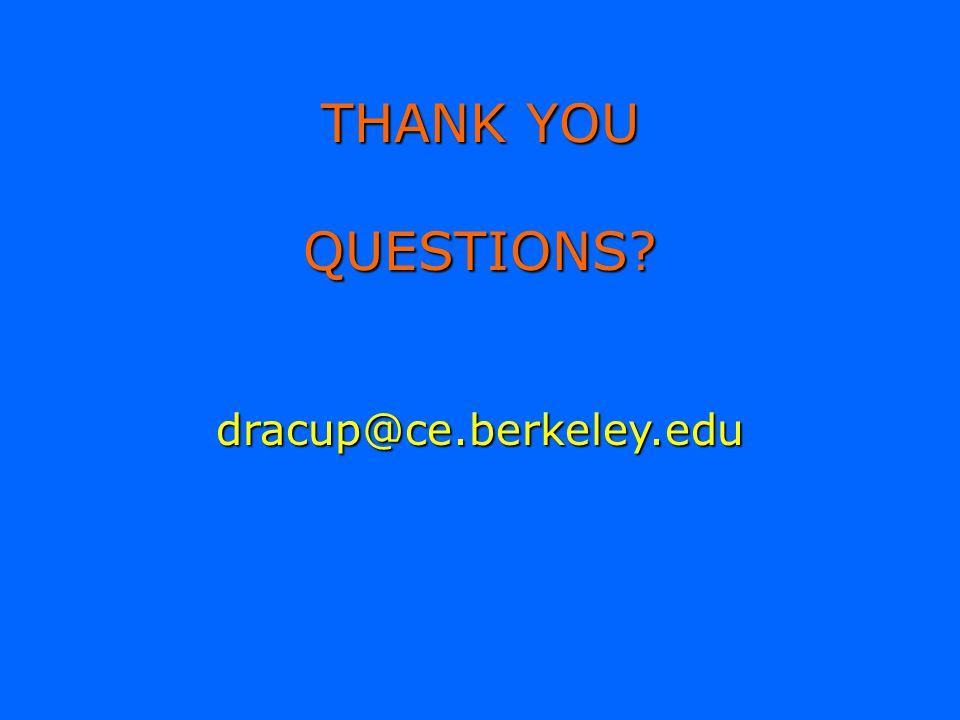 THANK YOU QUESTIONS? dracup@ce.berkeley.edu