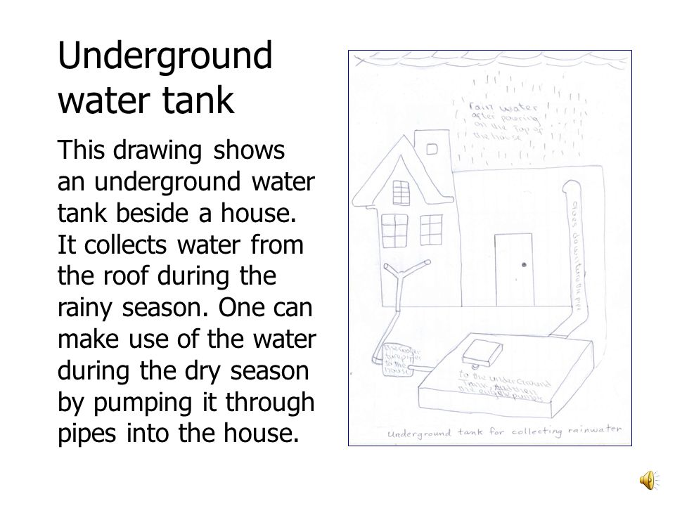 Underground water tank This drawing shows an underground water tank beside a house.
