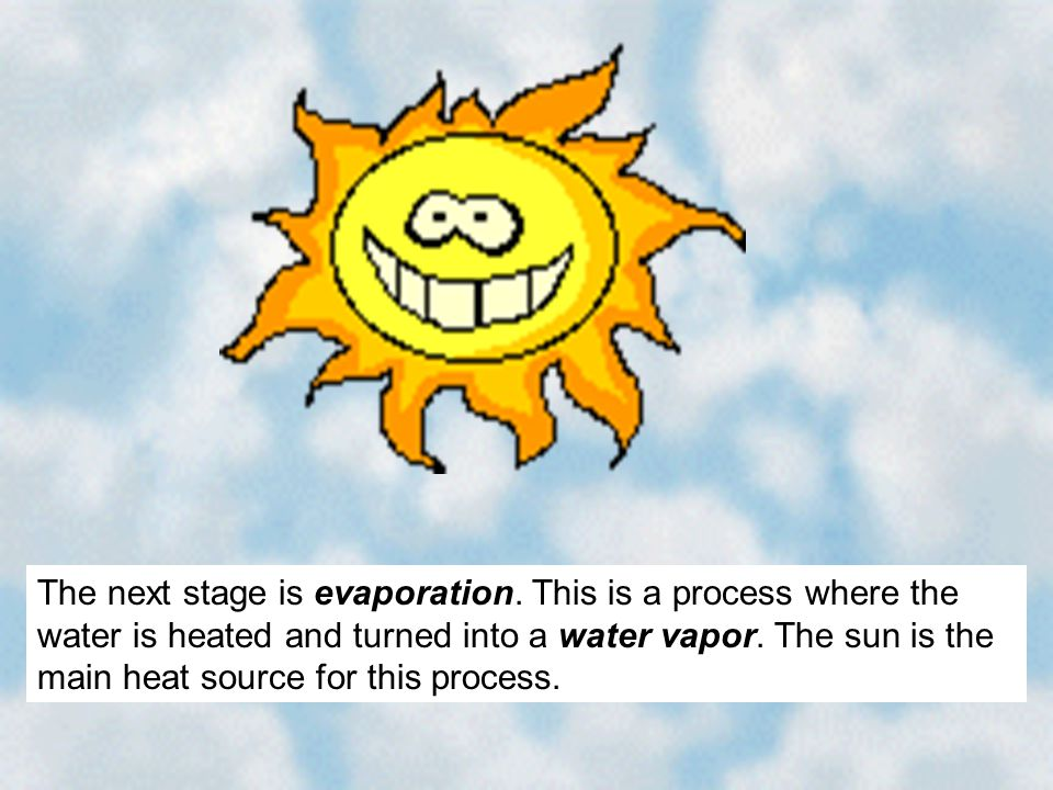 The next stage is evaporation. This is a process where the water is heated and turned into a water vapor. The sun is the main heat source for this pro