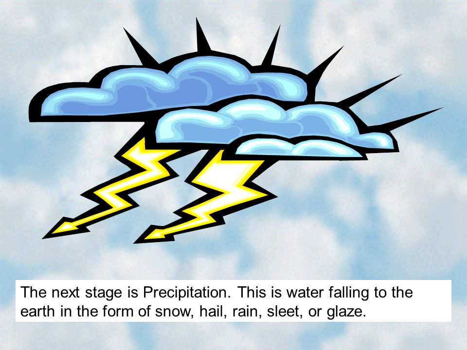 The next stage is Precipitation. This is water falling to the earth in the form of snow, hail, rain, sleet, or glaze.