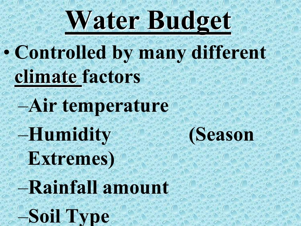 Water Budget climateControlled by many different climate factors –Air temperature –Humidity (Season Extremes) –Rainfall amount –Soil Type