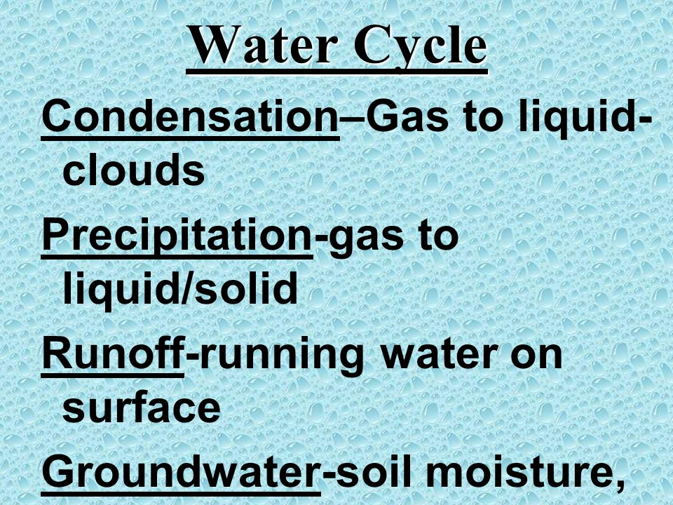 Water Cycle Condensation–Gas to liquid- clouds Precipitation-gas to liquid/solid Runoff-running water on surface Groundwater-soil moisture, water unde