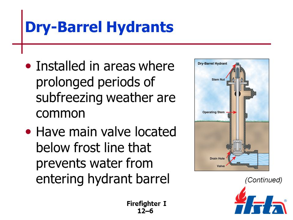 Firefighter I 12–6 Dry-Barrel Hydrants Installed in areas where prolonged periods of subfreezing weather are common Have main valve located below frost line that prevents water from entering hydrant barrel (Continued)
