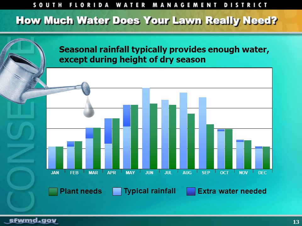 13 How Much Water Does Your Lawn Really Need? JANFEBMARAPRMAYJUNJULAUGSEPOCTNOVDEC Plant needs Typical rainfall Extra water needed Seasonal rainfall t