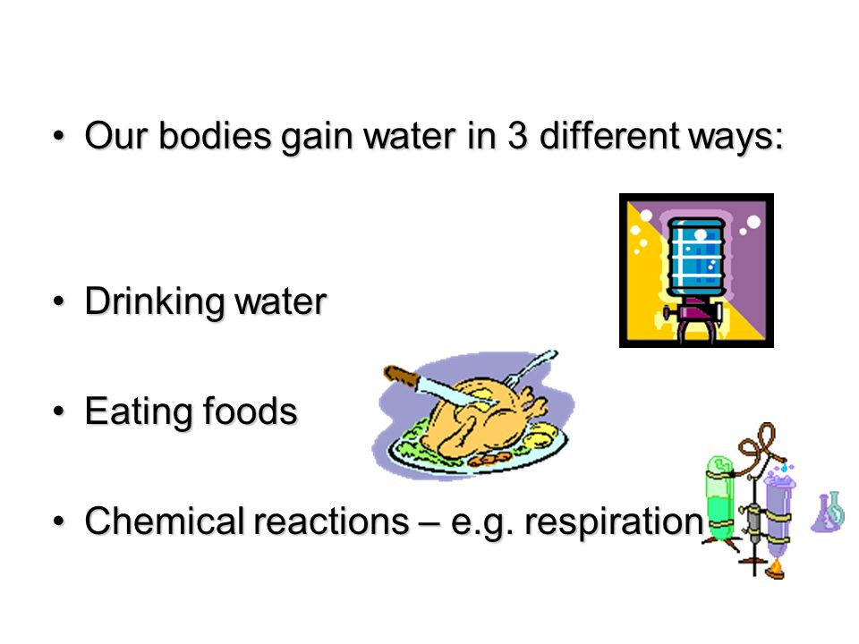 Our bodies gain water in 3 different ways:Our bodies gain water in 3 different ways: Drinking waterDrinking water Eating foodsEating foods Chemical re