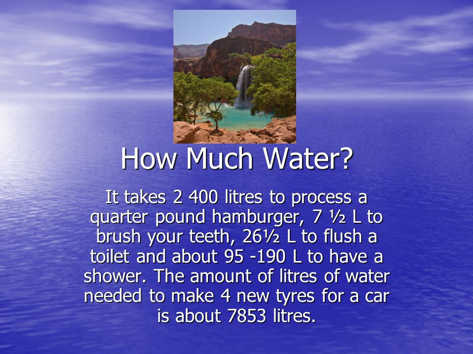 How Much Water? It takes 2 400 litres to process a quarter pound hamburger, 7 ½ L to brush your teeth, 26½ L to flush a toilet and about 95 -190 L to