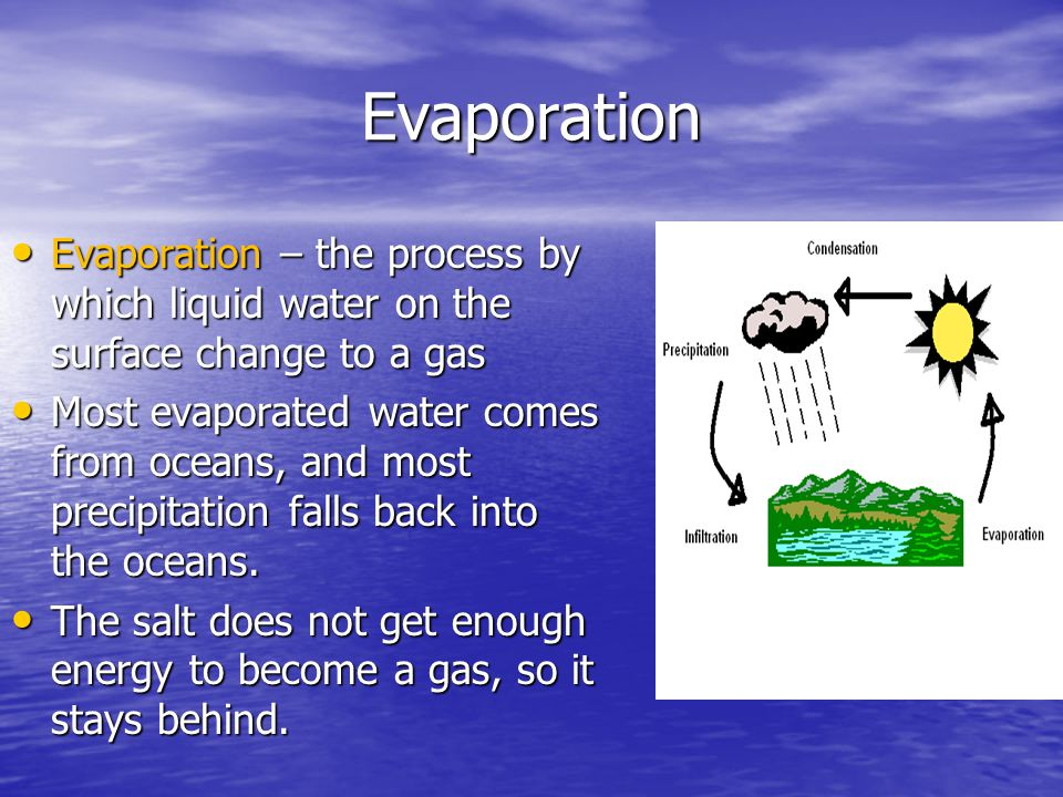 Evaporation Evaporation – the process by which liquid water on the surface change to a gas Evaporation – the process by which liquid water on the surf