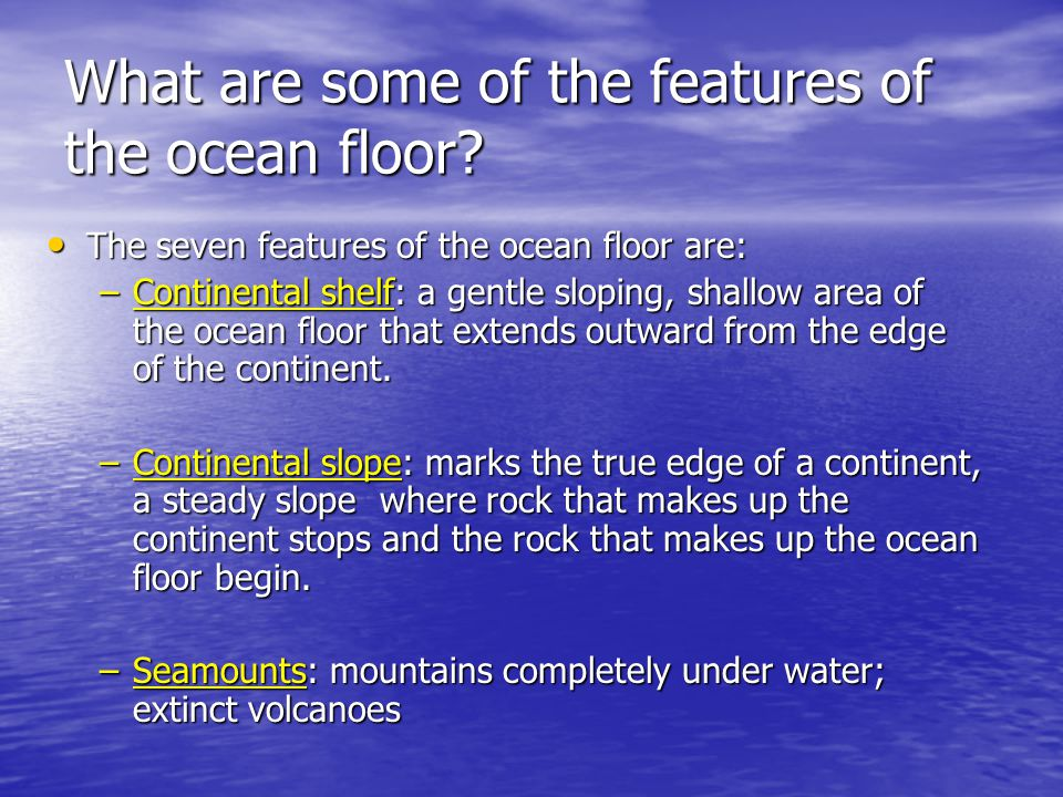 What are some of the features of the ocean floor? The seven features of the ocean floor are: The seven features of the ocean floor are: –Continental s