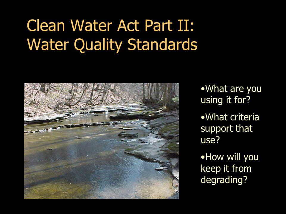 Clean Water Act Part II: Water Quality Standards What are you using it for.