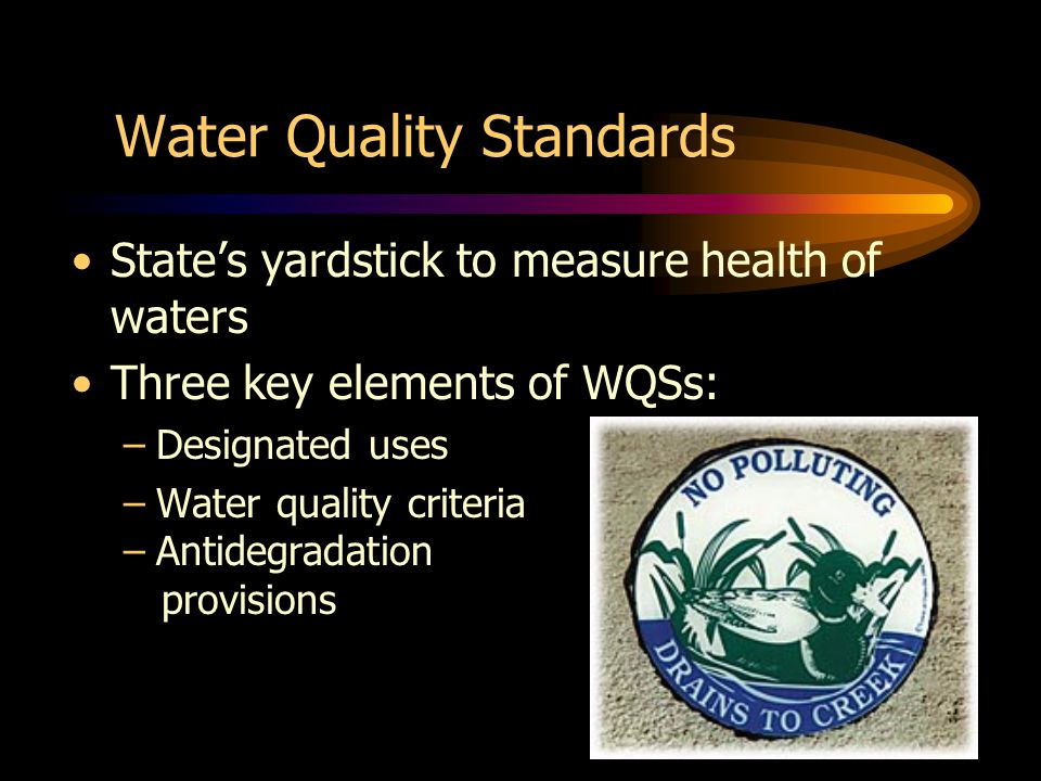 Water Quality Standards States yardstick to measure health of waters Three key elements of WQSs: –Designated uses –Water quality criteria –Antidegradation provisions