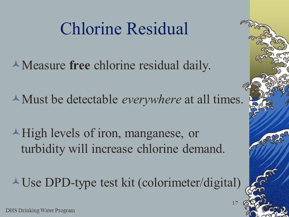 DHS Drinking Water Program 17 Chlorine Residual Measure free chlorine residual daily.