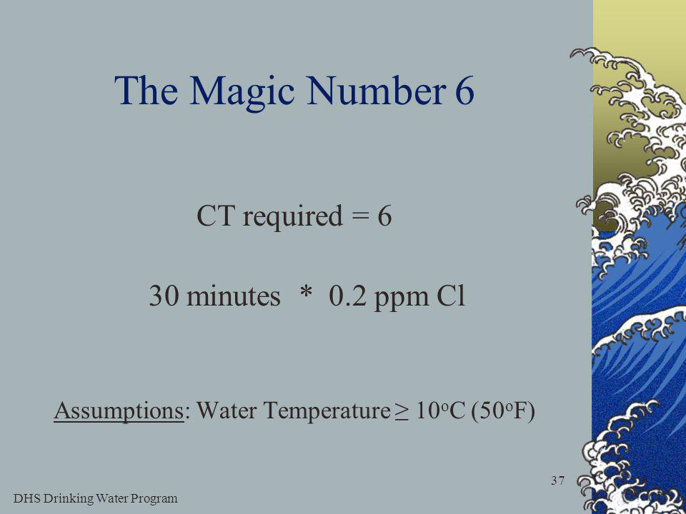 DHS Drinking Water Program 37 The Magic Number 6 CT required = 6 30 minutes * 0.2 ppm Cl Assumptions: Water Temperature 10 o C (50 o F)