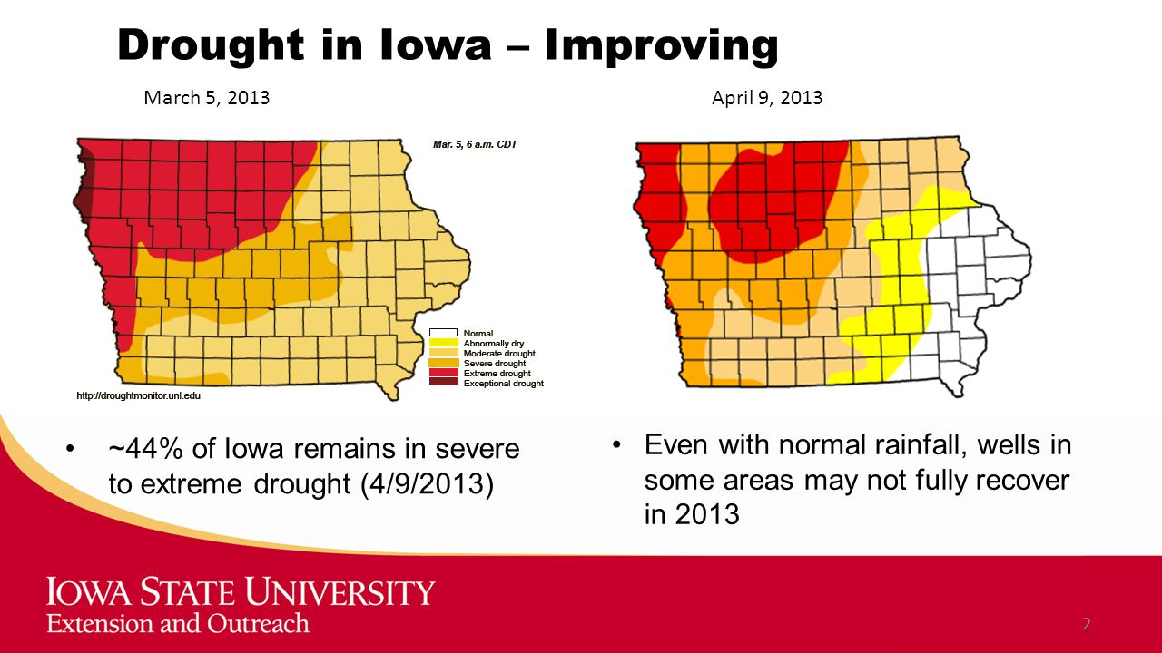 Drought in Iowa – Improving ~44% of Iowa remains in severe to extreme drought (4/9/2013) 2 March 5, 2013April 9, 2013 Even with normal rainfall, wells in some areas may not fully recover in 2013