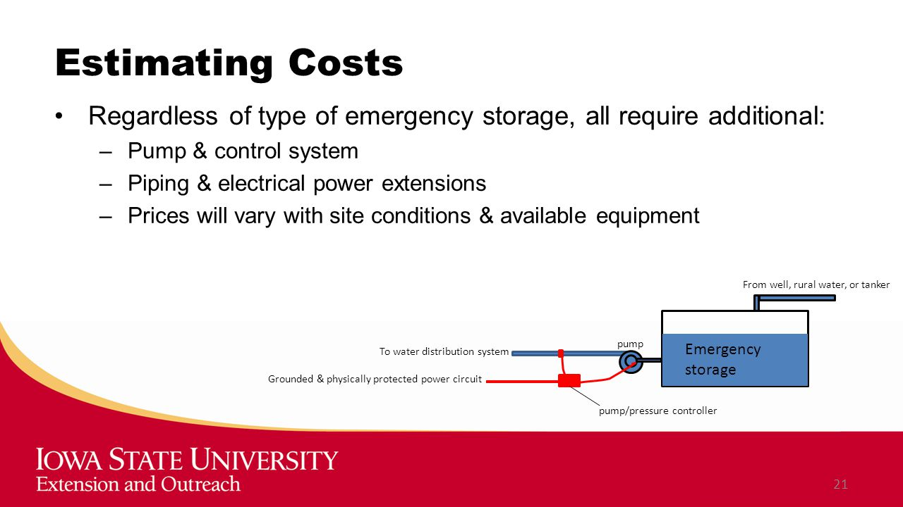 Estimating Costs Regardless of type of emergency storage, all require additional: –Pump & control system –Piping & electrical power extensions –Prices will vary with site conditions & available equipment 21 From well, rural water, or tanker Emergency storage To water distribution system pump/pressure controller Grounded & physically protected power circuit pump