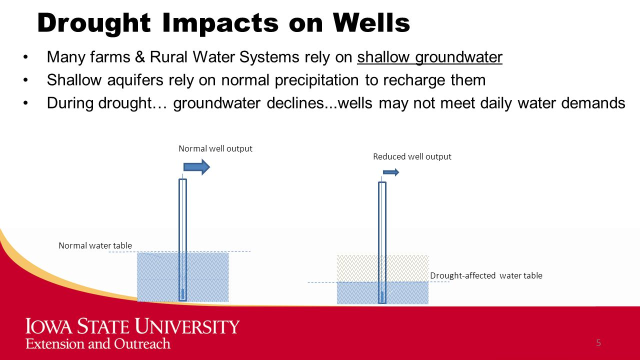 Drought Impacts on Wells Many farms & Rural Water Systems rely on shallow groundwater Shallow aquifers rely on normal precipitation to recharge them During drought… groundwater declines...wells may not meet daily water demands 5 Drought-affected water table Normal well output Normal water table Reduced well output