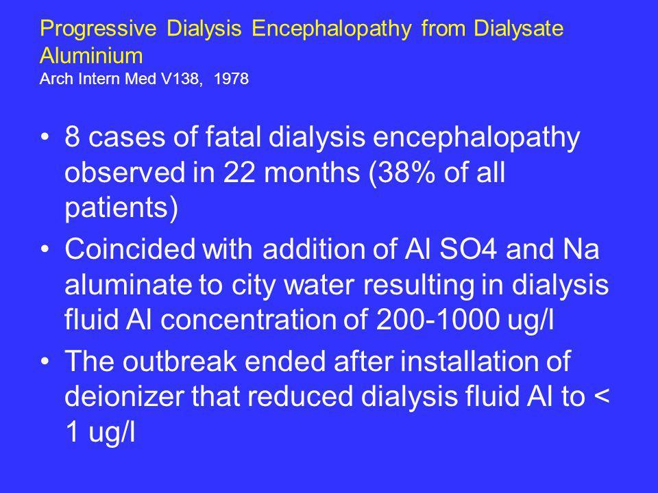 Progressive Dialysis Encephalopathy from Dialysate Aluminium Arch Intern Med V138, 1978 8 cases of fatal dialysis encephalopathy observed in 22 months