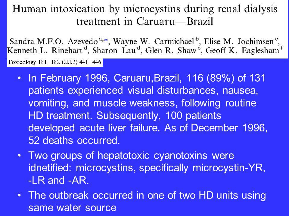 Arnow PM et al.An outbreak of fatal fluoride intoxication in a long-term hemodialysis unit.