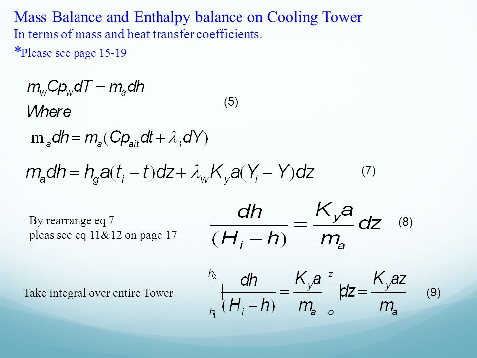 Mass Balance and Enthalpy balance on Cooling Tower In terms of mass and heat transfer coefficients. * Please see page 15-19 (5) (7) By rearrange eq 7