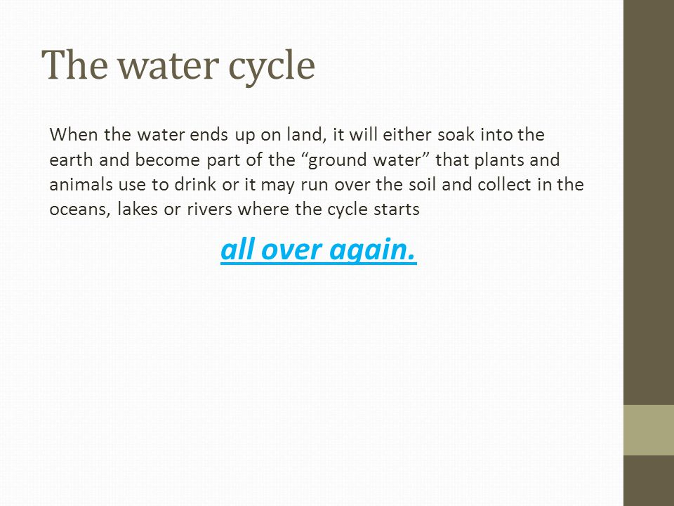 The water cycle When the water ends up on land, it will either soak into the earth and become part of the ground water that plants and animals use to drink or it may run over the soil and collect in the oceans, lakes or rivers where the cycle starts all over again.