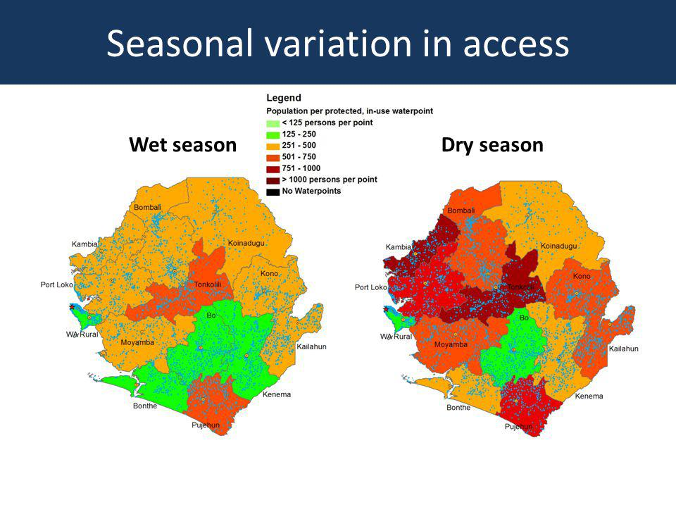 Benefits of WPM Provides visually mapped data for monitoring the status of water points Highlights issues of equity, inclusiveness and targeting Underpins Sector Performance Monitoring (SPM) Will influence national and local level planning WPM database can be integrated with hydrogeological database and other studies