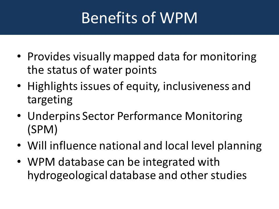 Water Point Mapping…..next steps Sierra Leone now has a baseline for water point coverage – the easy part Updating maps and addressing non functionality is the major challenge Need for a WASH sector strategy to deliver permanent services at national, regional and local levels Need to improve sector monitoring and mapping so that WPM informs National Sector Learning Review