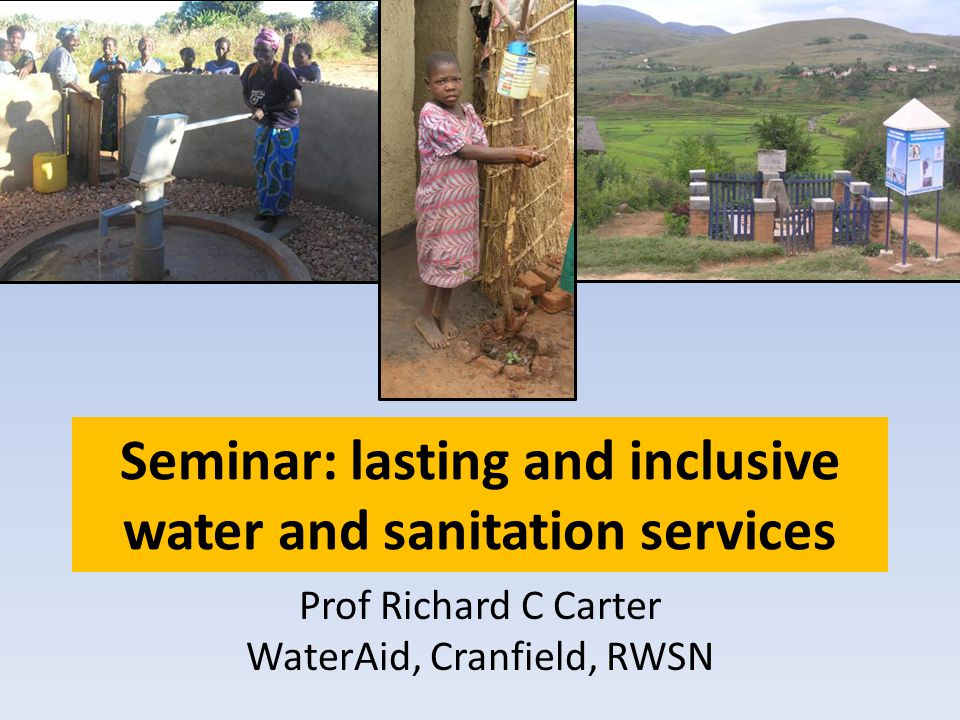 Seminar: lasting and inclusive water and sanitation services Prof Richard C Carter WaterAid, Cranfield, RWSN