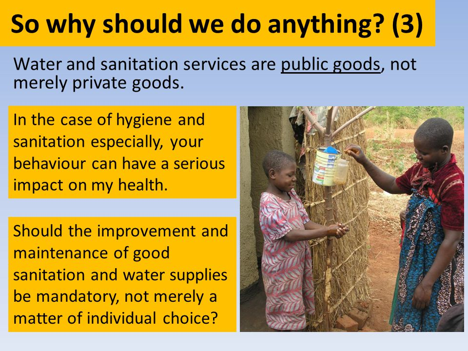 So why should we do anything? (3) Water and sanitation services are public goods, not merely private goods. In the case of hygiene and sanitation espe