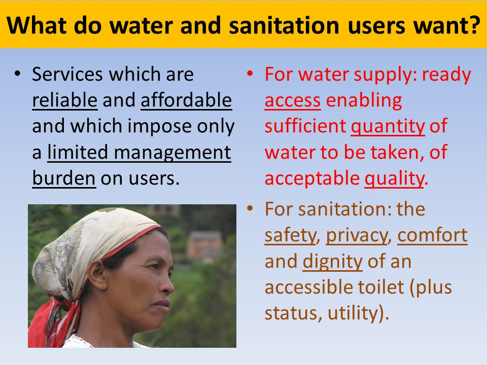 What do water and sanitation users want.