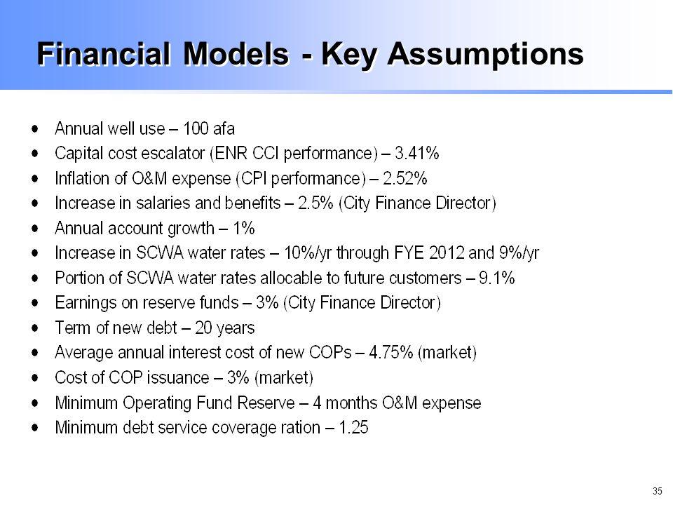 35 Financial Models - Key Assumptions