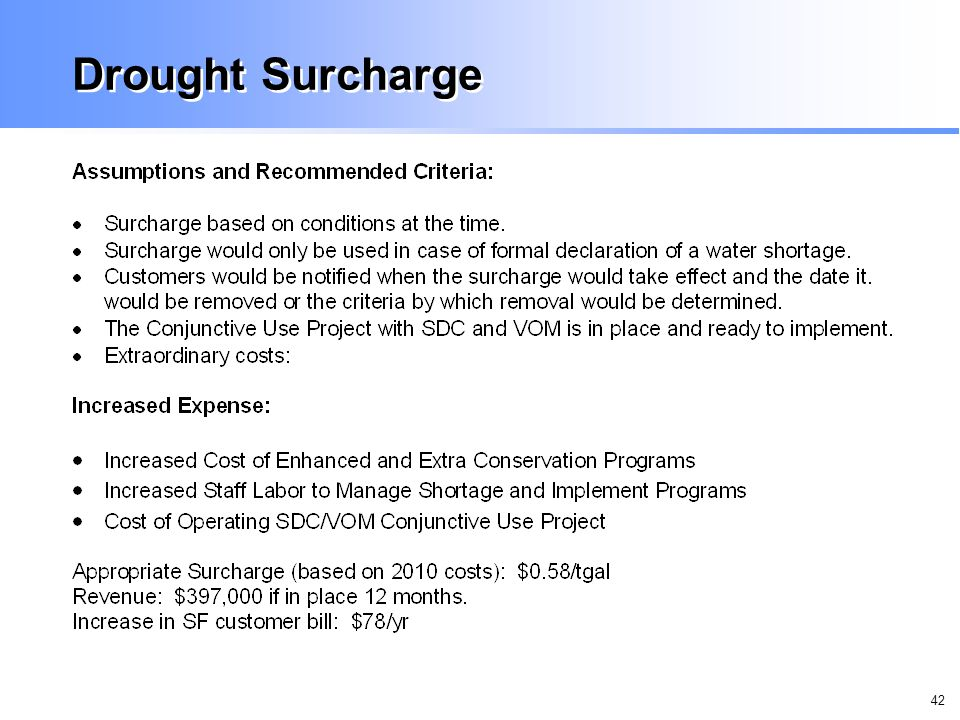 42 Drought Surcharge