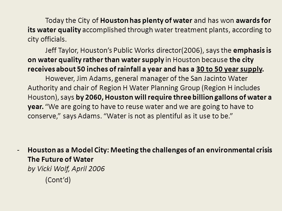 Entities Involved Houston Area Water Corp.
