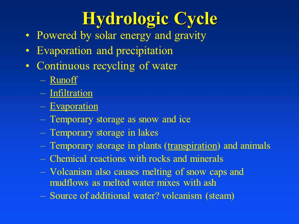 WaterWater –Supply, Renewal and Use –Too little Water –Dams and Reservoirs –Transferring water –Groundwater and Saltwater –Efficiency –Too Much Water Water Pollution