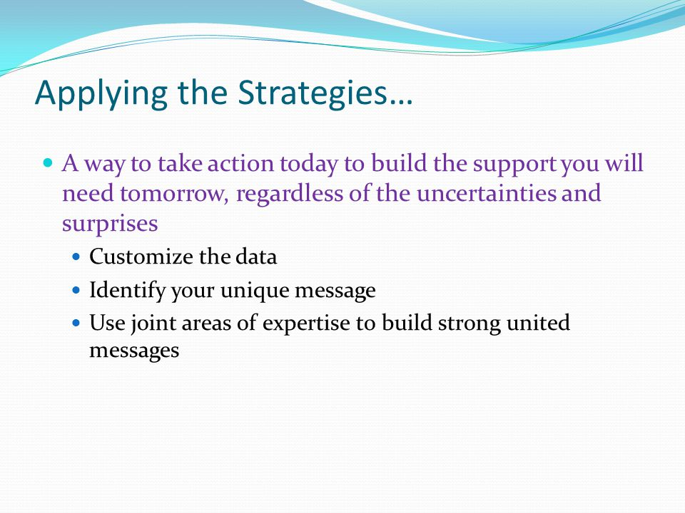 Applying the Strategies… A way to take action today to build the support you will need tomorrow, regardless of the uncertainties and surprises Customi