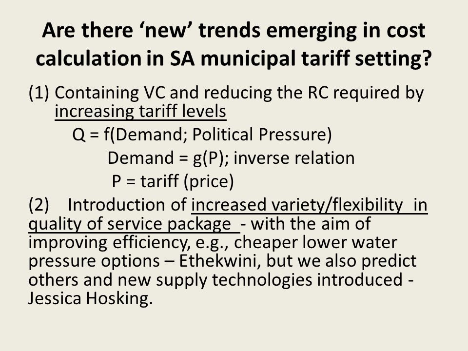 Are there new trends emerging in cost calculation in SA municipal tariff setting.