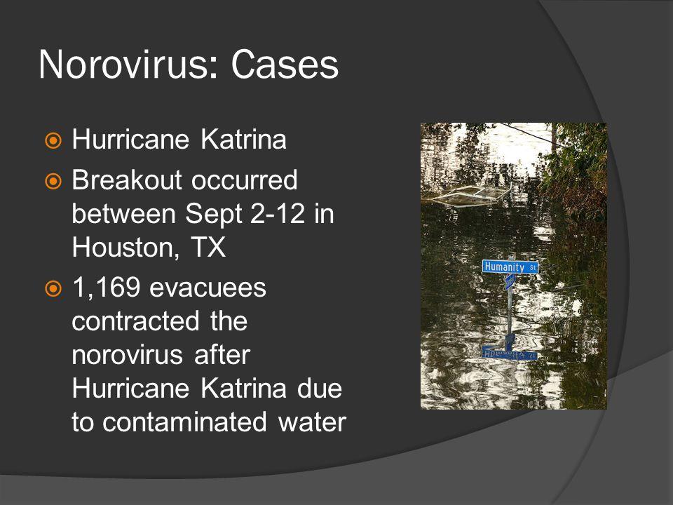 Norovirus: Cases Hurricane Katrina Breakout occurred between Sept 2-12 in Houston, TX 1,169 evacuees contracted the norovirus after Hurricane Katrina