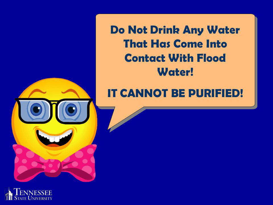 Do Not Drink Any Water That Has Come Into Contact With Flood Water! IT CANNOT BE PURIFIED!
