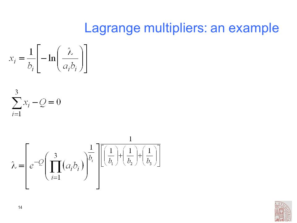14 Lagrange multipliers: an example