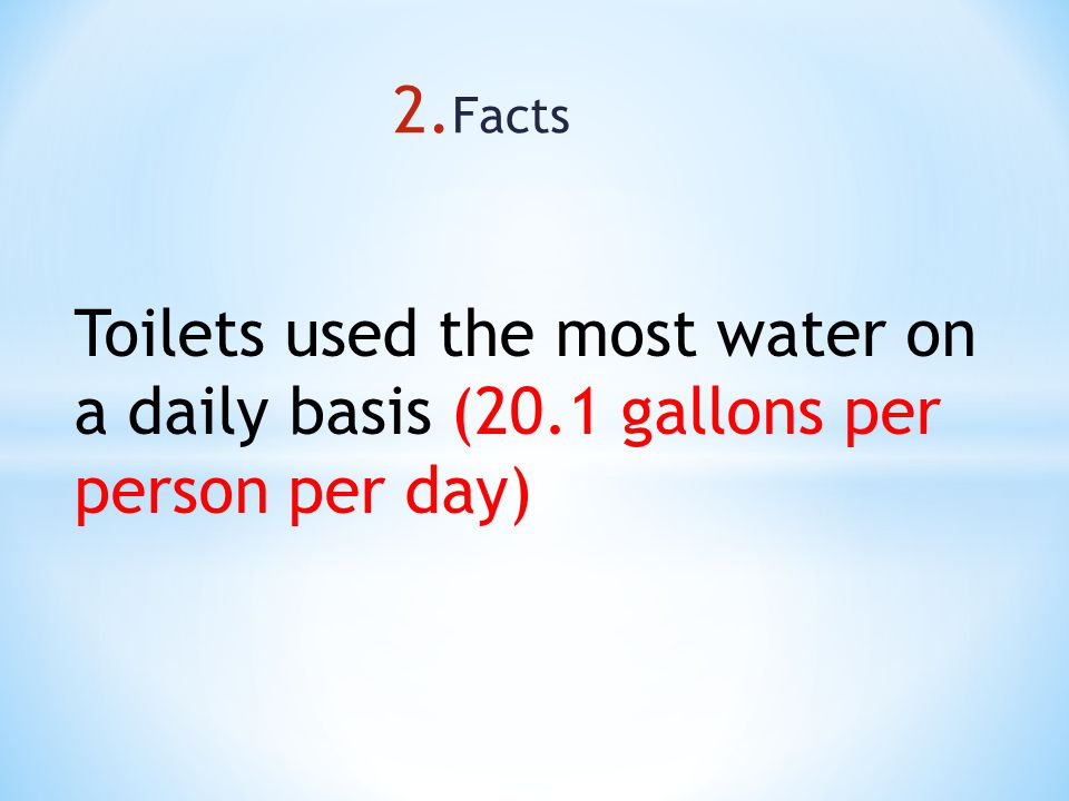 Toilets used the most water on a daily basis (20.1 gallons per person per day)