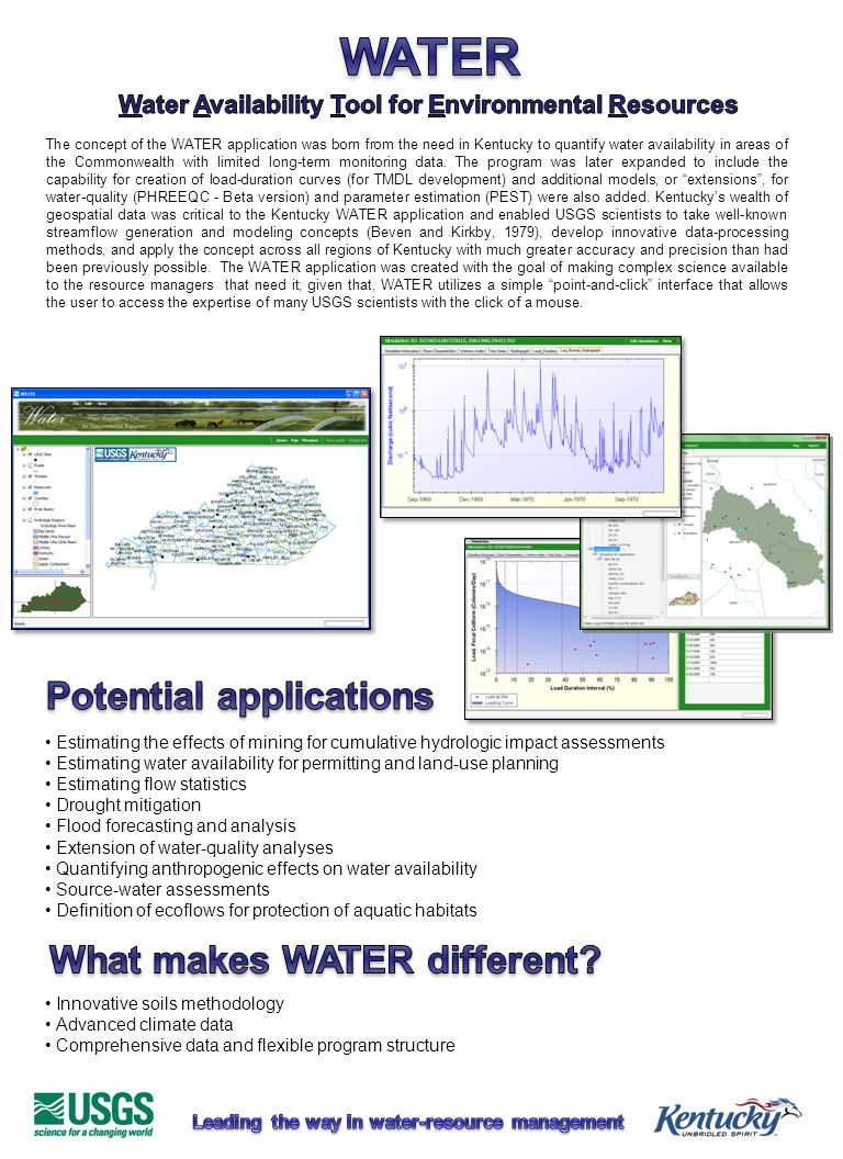 The concept of the WATER application was born from the need in Kentucky to quantify water availability in areas of the Commonwealth with limited long-term monitoring data.