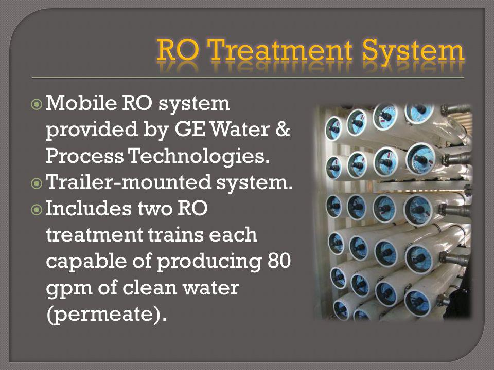 Mobile RO system provided by GE Water & Process Technologies.