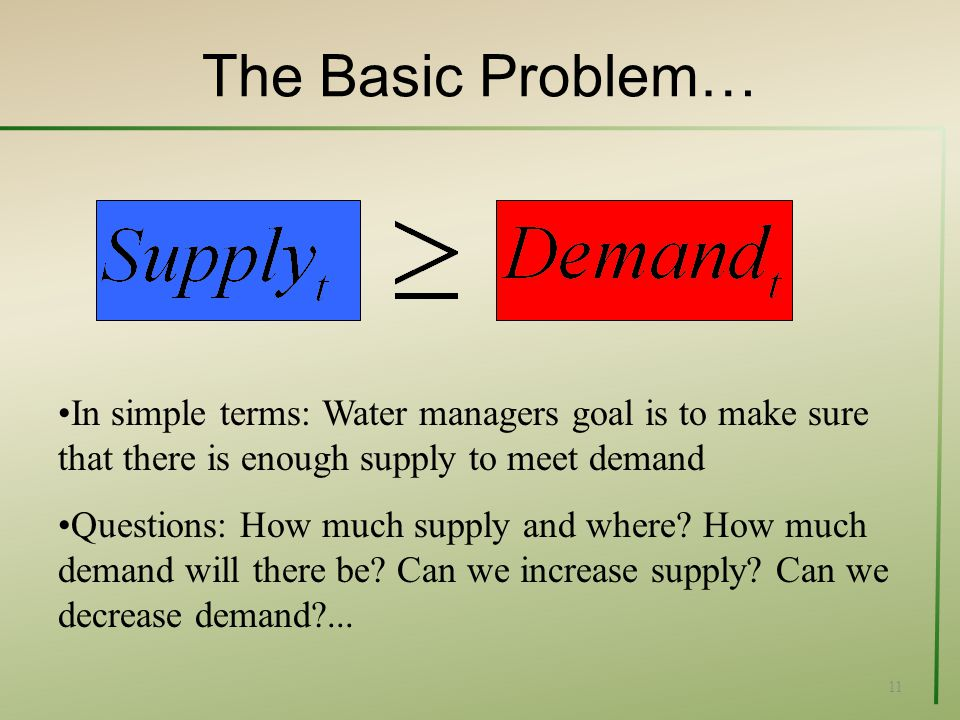 The Basic Problem… 11 In simple terms: Water managers goal is to make sure that there is enough supply to meet demand Questions: How much supply and where.