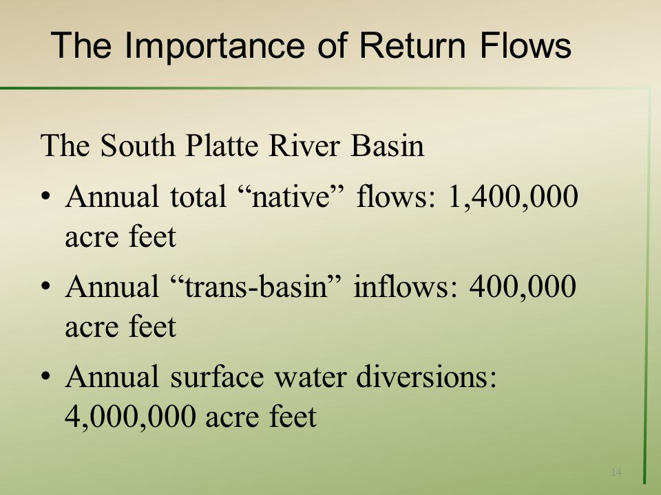 The Importance of Return Flows The South Platte River Basin Annual total native flows: 1,400,000 acre feet Annual trans-basin inflows: 400,000 acre feet Annual surface water diversions: 4,000,000 acre feet 14