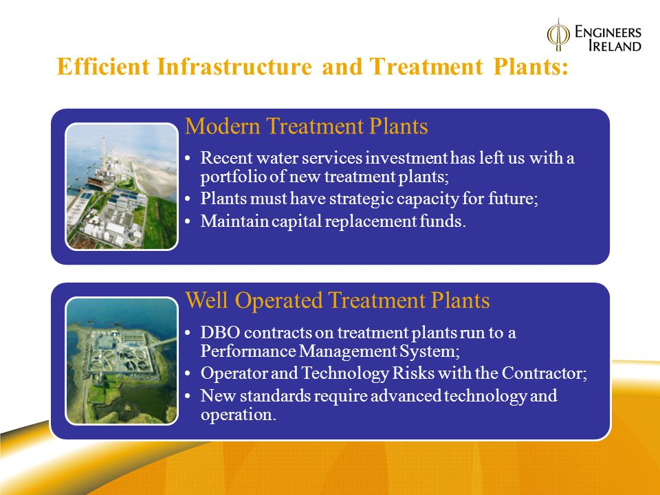 Efficient Infrastructure and Treatment Plants: Modern Treatment Plants Recent water services investment has left us with a portfolio of new treatment