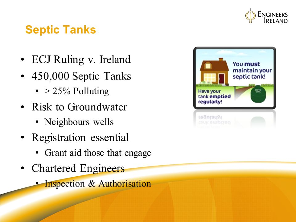 Septic Tanks ECJ Ruling v. Ireland 450,000 Septic Tanks > 25% Polluting Risk to Groundwater Neighbours wells Registration essential Grant aid those th