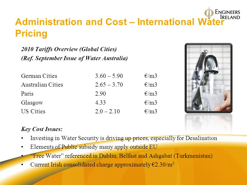Administration and Cost – International Water Pricing 2010 Tariffs Overview (Global Cities) (Ref. September Issue of Water Australia) German Cities3.6