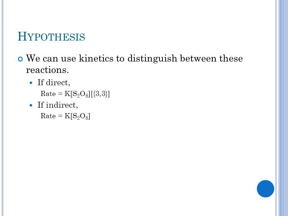 H YPOTHESIS We can use kinetics to distinguish between these reactions.